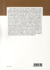 Revue De Phenomenologie N.21 ; La Vie - 4ème de couverture - Format classique
