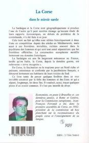 La Corse Dans Le Miroir Sarde - 4ème de couverture - Format classique