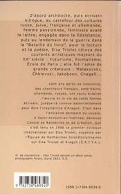 Elsa Triolet ; Un Ecrivain Dans Le Siecle - 4ème de couverture - Format classique