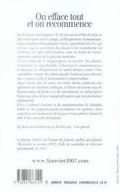 On Efface Tout On Recommence - Propositions Pour Une Nouvelle Revolution Francaise - 4ème de couverture - Format classique