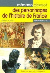 Memento Gisserot Des Personnages De L'Histoire De France - Couverture - Format classique