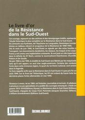 Livre D'Or De La Resistance Dans Le Sud-Ouest - 4ème de couverture - Format classique