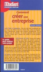 Comment Creer Son Entreprise - 4ème de couverture - Format classique