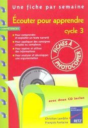 Écouter pour apprendre ; cycle 3 ; fiches à photocopier - Intérieur - Format classique