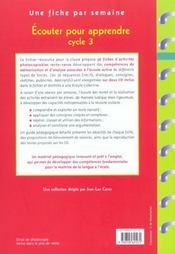 Écouter pour apprendre ; cycle 3 ; fiches à photocopier - 4ème de couverture - Format classique