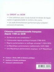 L'histoire constitutionnelle française depuis 1789 en qcm - 4ème de couverture - Format classique