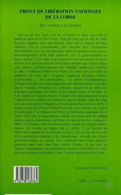 Front De Liberation Nationale De La Corse ; De L'Ombre A La Lumiere - 4ème de couverture - Format classique