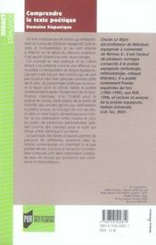 Comprendre le texte poétique. domaine hispanique - 4ème de couverture - Format classique