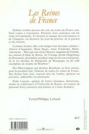 Les Reines De France - 4ème de couverture - Format classique