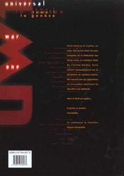 Universal war one t.1 ; la génèse - 4ème de couverture - Format classique