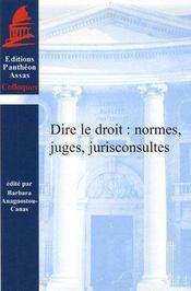 Dire le droit ; normes, juges, jurisconsultes - Intérieur - Format classique