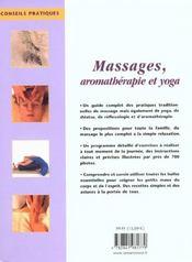 Massages, Aromatherapie Et Yoga - 4ème de couverture - Format classique