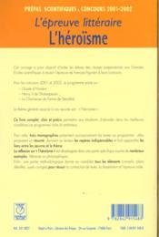 L'epreuve litteraire 2001-2002 ; l'heroisme - 4ème de couverture - Format classique