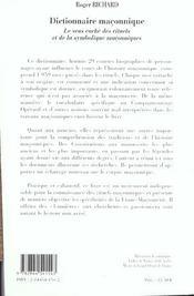 Dictionnaire Maconnique - 4ème de couverture - Format classique