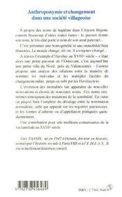 Anthroponymie Et Changement Dans Une Societe Villageoise - 4ème de couverture - Format classique