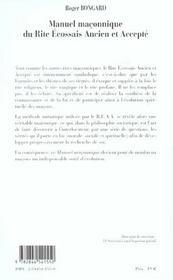 Manuel Maconnique Du Rite Ecossais Ancien Et Accepte - 4ème de couverture - Format classique