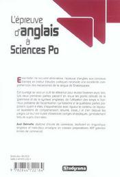 L'épreuve d'anglais à Sciences Po - 4ème de couverture - Format classique
