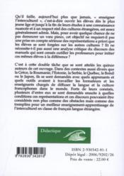 Interculturel En Francophonie Representations Des Apprenants Et Discours Des Manuels - 4ème de couverture - Format classique