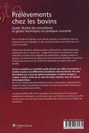 Prelevements Chez Les Bovins Description Illustree Des Gestes Techniques - 4ème de couverture - Format classique