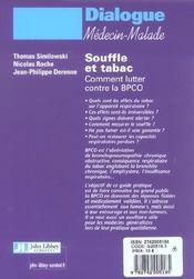 Souffle et tabac ; comment lutter contre la bpco ( broncho-pneumopathie chronique et obstructive ) - 4ème de couverture - Format classique