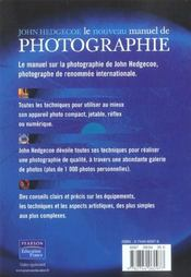 Le nouveau manuel de photographie - 4ème de couverture - Format classique