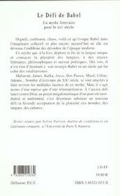 Le Defi De Babel - Un Mythe Litteraire Pour Le Xxie - 4ème de couverture - Format classique