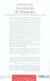 L'Oracle De Shirataka - 4ème de couverture - Format classique