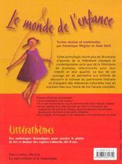 Le Monde De L'Enfance - Litterathemes Anthologie Pour Le Cycle 3 - 4ème de couverture - Format classique