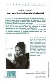 Pour Une Linguistique Du Begaiement - 4ème de couverture - Format classique
