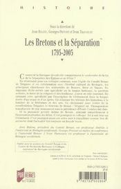 Les bretons et la séparation, 1795-2005 - 4ème de couverture - Format classique