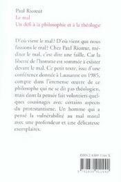 Le Mal: Un Defi A La Philosophie Et A La Theologie - 4ème de couverture - Format classique