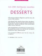 Les 200 meilleures recettes de desserts - 4ème de couverture - Format classique