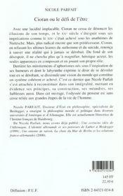 Cioran Ou Le Defi De L'Etre - 4ème de couverture - Format classique