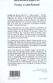 Vezelay Et Saint Bernard - 4ème de couverture - Format classique