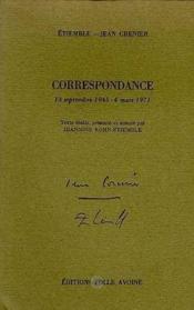 Correspondance Etiemble/Jean Grenier - Couverture - Format classique