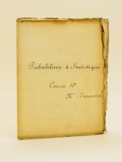Statistique mathématique [ Manuscrit d'un élève de l'Ecole Normale Supérieure vers 1935 - 1937 ] - Couverture - Format classique