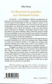 En Decouvrant Le Quotidien Avec Emmanuel Levinas ; Ce N'Est Pas Moi C'Est L'Etre - 4ème de couverture - Format classique