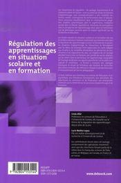 Régulation des apprentissages en situation scolaire et en formation - 4ème de couverture - Format classique