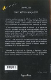 Elvis Mene L'Enquete - 4ème de couverture - Format classique