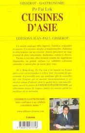 Cuisines d'asie - 4ème de couverture - Format classique