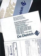 Notices D'Utilisations De Dietrich : Elements A Composes+ensembles Couvercles+certificat De Garantie/multilingue. - Couverture - Format classique
