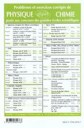 Problemes Corriges De Chimie Centrale/Supelec Mines/Ponts Tome 5 1998-2000 - 4ème de couverture - Format classique