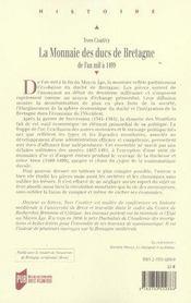 La monnaie des ducs de bretagne de l'an mille à 1499 - 4ème de couverture - Format classique