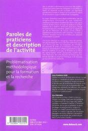 Paroles de praticiens et description de l'activité ; problématisation méthodologique pour la formation et la recherche - 4ème de couverture - Format classique