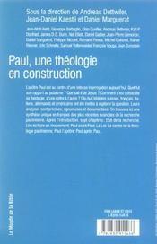 Paul, Une Theologie En Construction - 4ème de couverture - Format classique