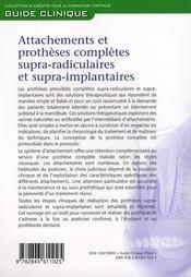 Attachements et prothèses complètes supra-radiculaires et supra-implantaires - 4ème de couverture - Format classique