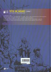 Tête de nègre t.1 - 4ème de couverture - Format classique