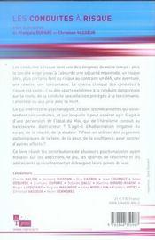 Les conduites à risque au regard de la psychanalyse - 4ème de couverture - Format classique