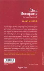 Elisa bonaparte - 4ème de couverture - Format classique