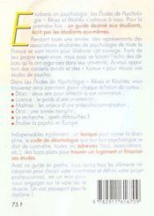 Les Etudes De Psychologie - 4ème de couverture - Format classique